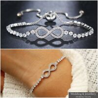 Fashion Infinity 8 Bracelet Adjustable Crystal Jewelry Charm Bangle Silver Gold