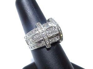 Mens Platinum Princess Cut Invisible Set Beautiful White Diamond 3.50ct Ring