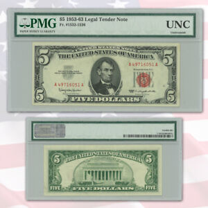 1963 $5 LEGAL TENDER RED SEAL PMG CERTIFIED UNCIRCULATED