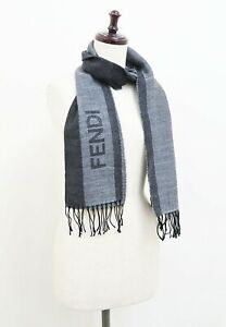Authentic FENDI Brown Zucca Pattern Wool and Silk Muffler shawl #34834