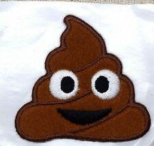 Iron On Embroidered Applique Patch - Smiley Face Emoji - Ice Cream Poo - LARGE
