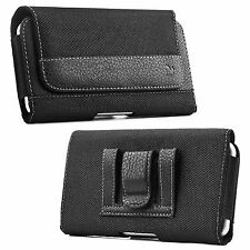 Luxmo Black Horizontal Leather Pouch Holster Belt Clip Carrying Case for PHONES LG G5