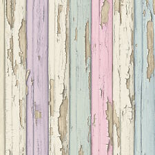 Pastel Purple, Pink, Green & Blue Timber Wood Look Wallpaper - French Shabby -