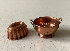 Dolls house miniature 1:12 copper colander + mould