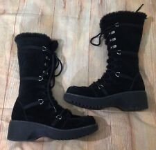 Women's Report Icon Tall Black Suede Winter Boots Sz 10 Laced Sherpa Lined Warm