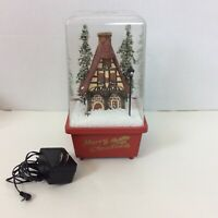 Merry Christmas Musical Electric Acrylic Box Popcorn Snow Multi Setting Vintage