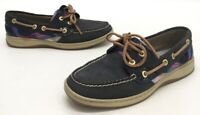 Sperry Top Sider Bluefish Womens Navy Leather/Plaid Two Eye Boat Shoes Size 6.5M