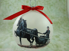 H042 Hand-made Christmas Ornament HORSE- black arab arabian morgan show driving