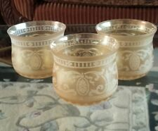 3 Antique Germany Iridescent Etched gold amber Glass Shade