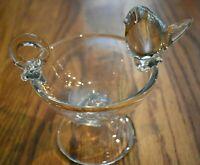 Clear Thick Blown Art Glass Bird Finger Hold Pedestal Bowl Very Reflective