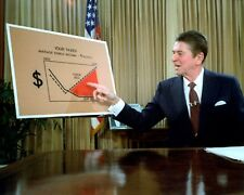 RONALD REAGAN ADDRESSES THE NATION ON TAX REFORM IN 1981 - 8X10 PHOTO (FB-341)