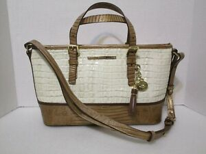 Brahmin Mini Asher Satchel Tote Shoulder Bag In Marshmallow Tri-Texture Leather