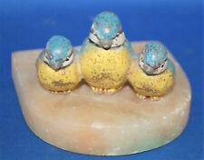 An antique cold painted cast metal Bluetit bird figure group, alabaster base,19C