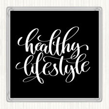 Black White Healthy Lifestyle Quote Drinks Mat Coaster