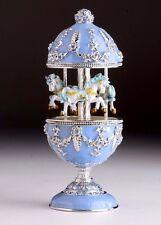 Blue Easter Egg Horse Carousel Trinket Box by Keren Kopal music box with crystal
