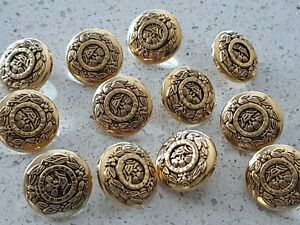 Lot of 12x New 22mm Round Gold Victory Wreath Shank Vintage Sewing Buttons