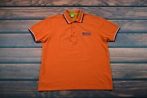 hugo boss polo shirt      trikot cotton   large orange  Men short sleeve size XL