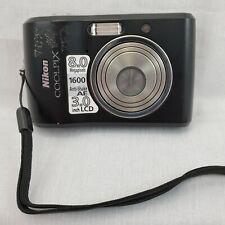Black Nikon COOLPIX L18 Digital Camera 8 MP 3X Zoom ISO 1600 3 inch LCD  (#352)