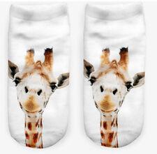 Cute Pair 3d Giraffe Printed Men Women Fashion DESIGNER Low Cut Ankle Socks