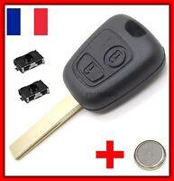 Coque Télécommande Plip Clé Pour Peugeot 107 207 307+ 2 Switchs +Lame Rainurée