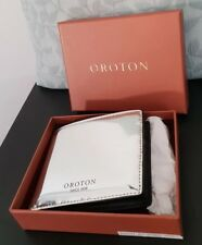 💕💕OROTON SILVER/BLACK LEATHER Mens WalletCOMES WITH PAPER BOX NEW RRP $175.00