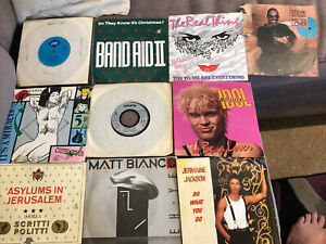 """10 x 7"""" Vinyl Singles Records from the 1980s Stevie Wonder Etc as Listed #9"""