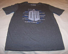 Doctor Who Logo Mens Grey Marle Printed Short Sleeve T Shirt Size L New