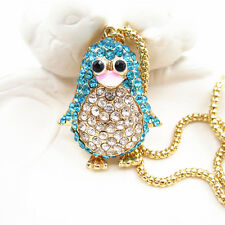 Gold Plated Blue Crystal Cute Penguin Pendant Sweater Necklace Chain For Gift
