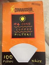 Coffee Filters,CONNAISSEUR # 4 CONE COFFEE FILTERS WHITE 100 COUNT