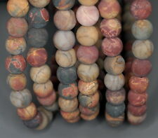 8MM PICASSO JASPER GEMSTONE MATTE BROWN ROUND LOOSE BEADS 15.5""