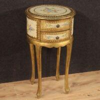 Tavolino mobile in legno laccato dorato dipinto stile antico comodino salotto