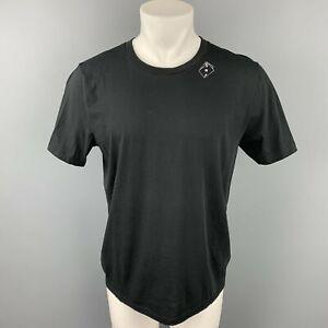SAINT LAURENT Size M Black Graphic Cotton Crew-Neck T-shirt