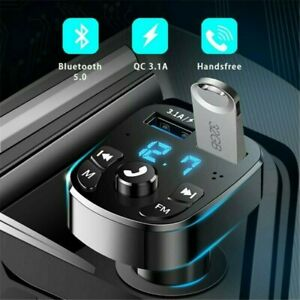 UK Car Wireless Bluetooth FM Transmitter MP3-Player USB Car Fast Charger Adapter