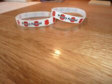 Pair Royal British Legion POPPY Silicone Wristband  Adult Size 2 x White