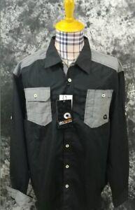 Mens 3XL Akademiks flip cuff black gray button front shirt new nwt