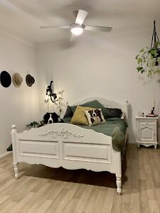 Country Corner Queen Bed, bed side table, chest of draws, bedroom suite