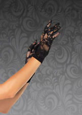 Womens 1940s Style Black Lace Gloves