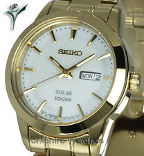 Ladies SEIKO SOLAR GOLD TONE DAY & DATE With STAINLESS STEEL BRACELET SUT164P1