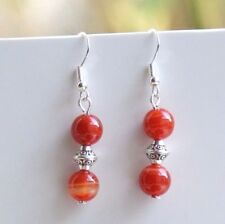 Gemstone Earrings Sterling Silver Hooks Red Stripe Agate New Drop Dangly LB402