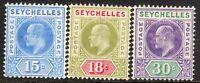 Seychelles 1906 part set multi-crown CA mint SG64/65/66 (3)