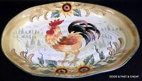 "MAXCERA china VILLAGE ROOSTER SUNFLOWER pattern Serving Platter ~ 17"" X 11 1/2"""