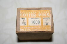 "Cotter Pins, 1/16"" x 1/2"" long, 1000 pieces in box. Mfg. Joseph Lieval. NOS"