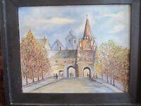 "Samuel H. Miller 1969 signed oil painting ""Kreutzor Gate"" Ingolstadt Germany!"