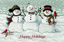 16 Embossed Boxed Christmas Cards Snowmen and Birds