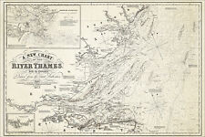 Sea Chart of the Thames, Kent, Suffolk in 1852, reproduction