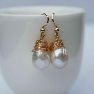 11-12x14-15mm Baroque Kasumi pearl Natural White Tassel earrings 34mm E332