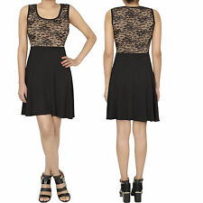 Black Lace Contrast Sleeveless Flared Skater Swing Mini Party Office Dress