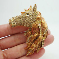 Vintage Style Horse Head Animal Brown Crystal Rhinestone Gold-tone Brooch Pin
