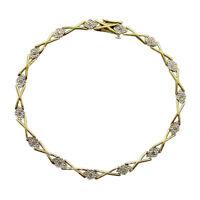9ct Yellow & White Gold Ladies Diamond Fancy Cross Link Tennis Bracelet 7.5inch