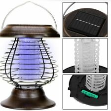 Solar Powered Outdoor Mosquito Fly Bug Insect Zapper Killer & Trap Lamp Light BT